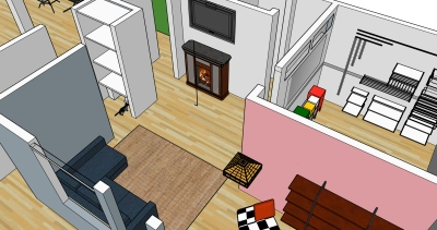 This is an arial view of the living room. The door to the top left goes into the top of the entry stairwell. This will remain closed almost permanently. The door just below that where our cat thurston will have his litter area, leads into the hallway and then art studios. Top right is the bedroom entrance.