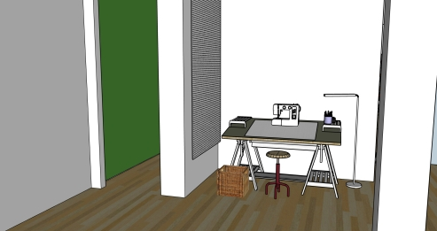 The green wall is the top of the entry stairwell. The desk here will be my puppet fabrication and sewing station. There will be a large white pegboard panel to the left of the desk.
